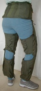 G-suit Back and Side - Model CSU-13B/P - also known as anti-g suit or anti-gravity garment usually worn by military fighter pilot - shown for medical use