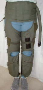 G-suit Front - Model CSU-13B/P - also known as anti-g suit or anti-gravity garment usually worn by military fighter pilot - inflated and shown for medical use