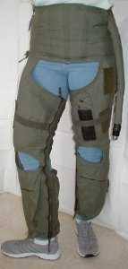 G-suit Front and Side - Model CSU-13B/P - also known as anti-g suit or anti-gravity garment usually worn by military fighter pilot - inflated and shown for medical use